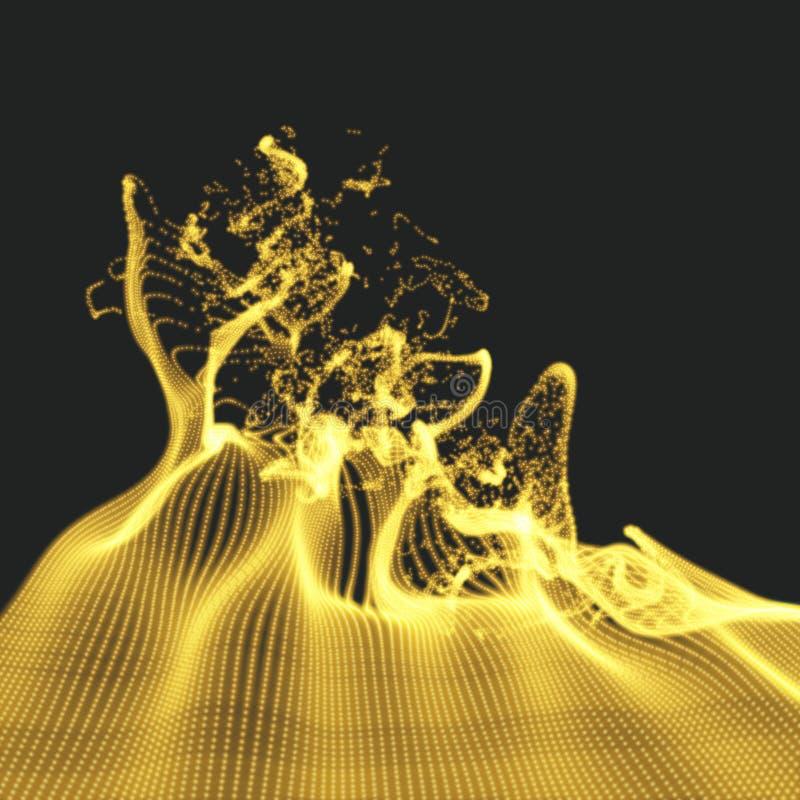 与动态散发的微粒的列阵 水飞溅模仿 抽象背景 向量例证