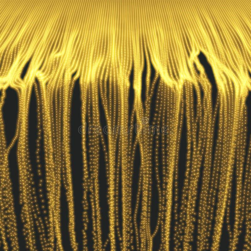 与动态散发的微粒的列阵 3D技术样式 发光的网格 抽象背景 库存例证