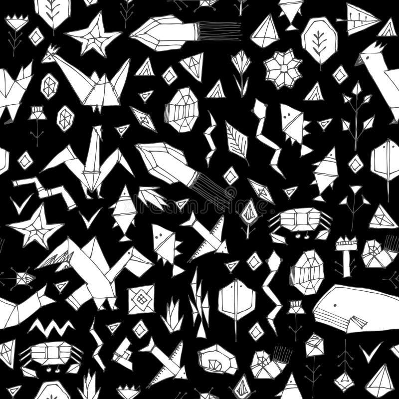 与动植物的春天夏天几何无缝的样式,黑等高装饰当代元素传统化了origami 皇族释放例证