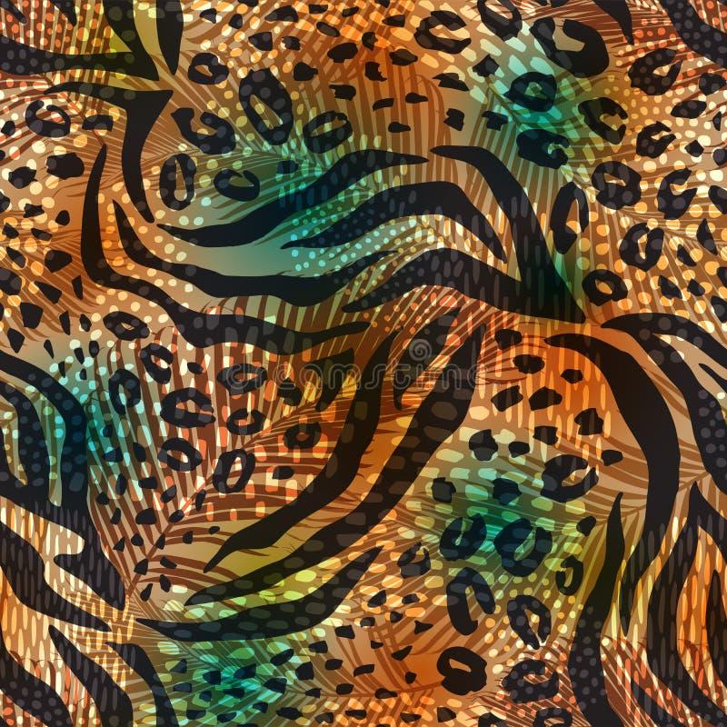 与动物印刷品的抽象几何无缝的样式 时髦手拉的纹理 皇族释放例证