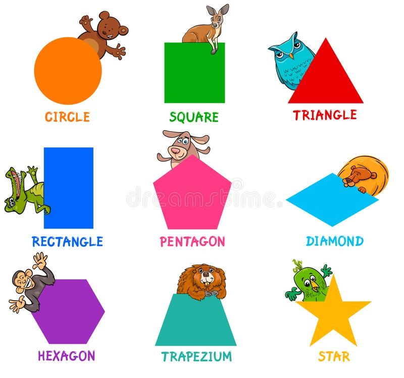 与动物字符的几何形状 皇族释放例证