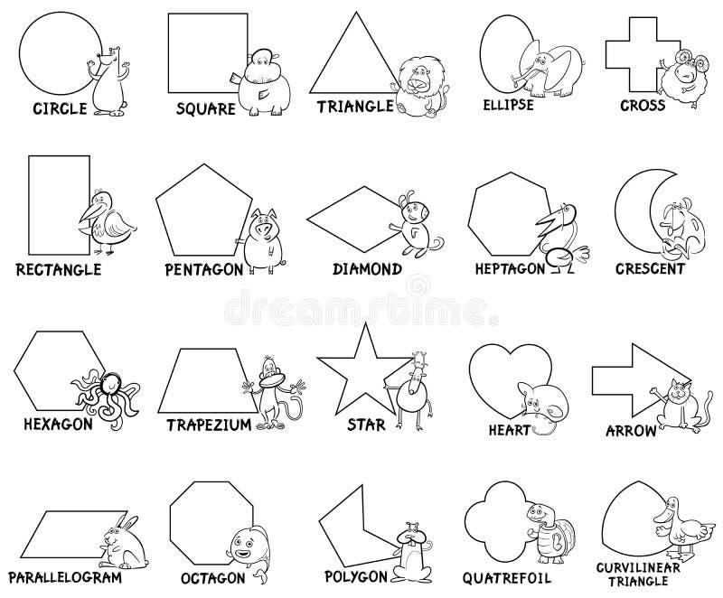 与动物字符的基本的几何形状 向量例证