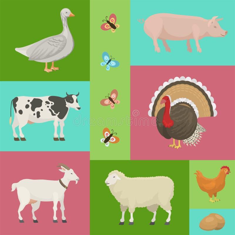 与动物横幅传染媒介例证的农厂生活 r 作为母牛、猪和鹅的家畜 向量例证