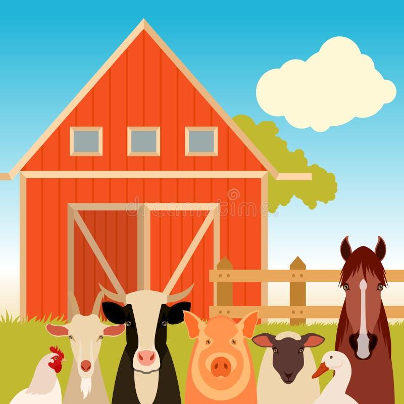 与动物的农厂横幅 库存例证