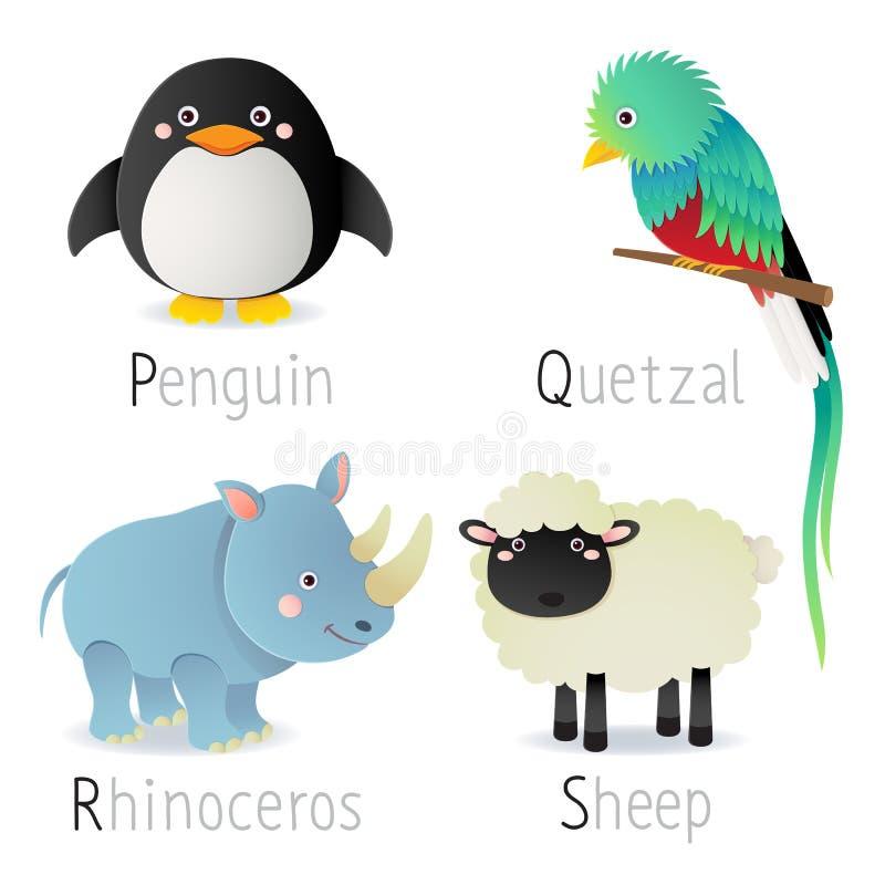 与动物的字母表从P到S设置了2 向量例证