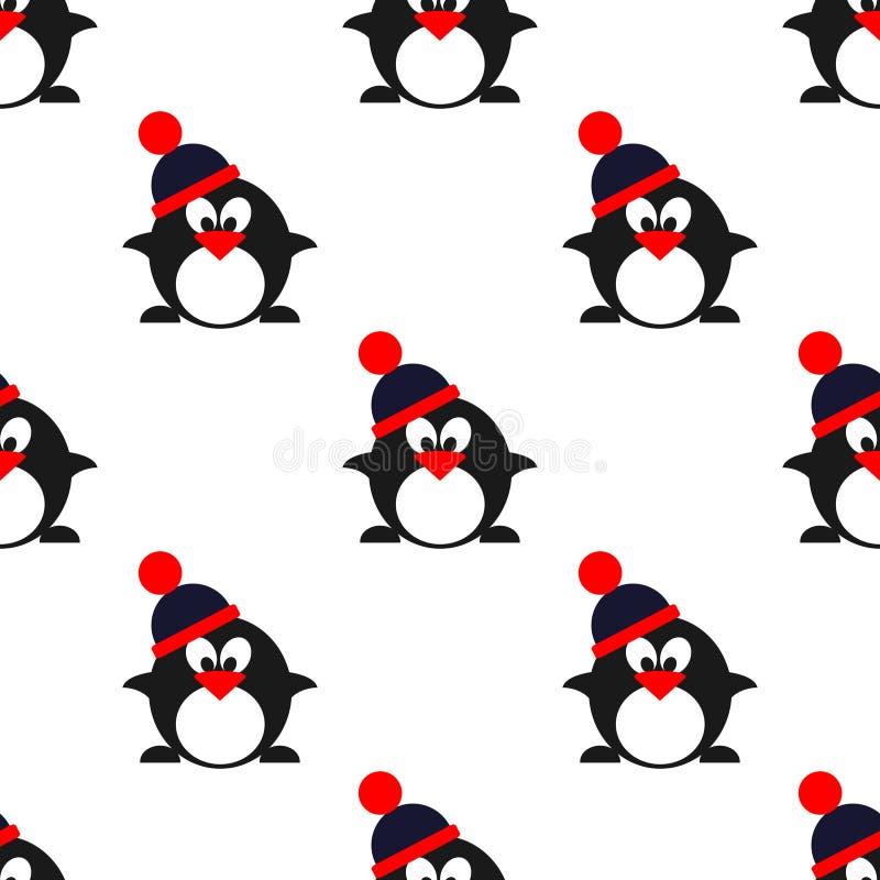 与动物的无缝的传染媒介样式,与企鹅的逗人喜爱的对称背景与冬天帽子 向量例证