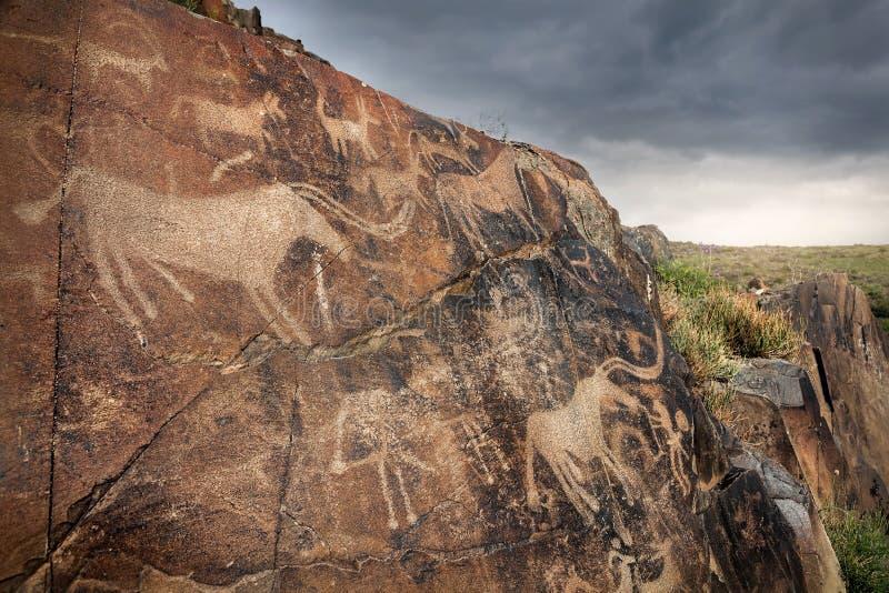 与动物的刻在岩石上的文字 库存图片