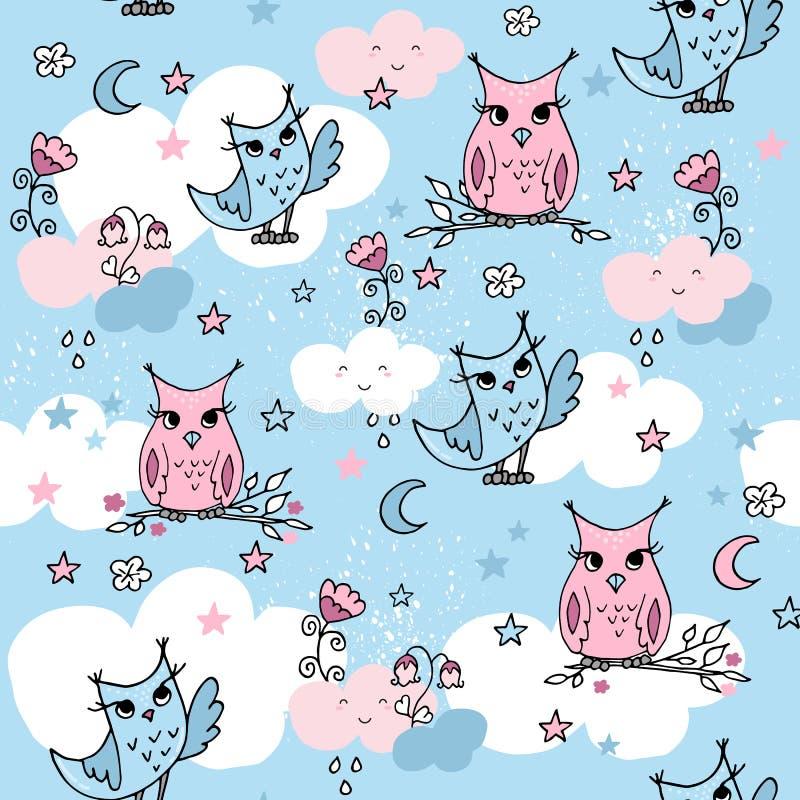 与动画片云彩和猫头鹰的逗人喜爱的无缝的样式在蓝色背景 皇族释放例证