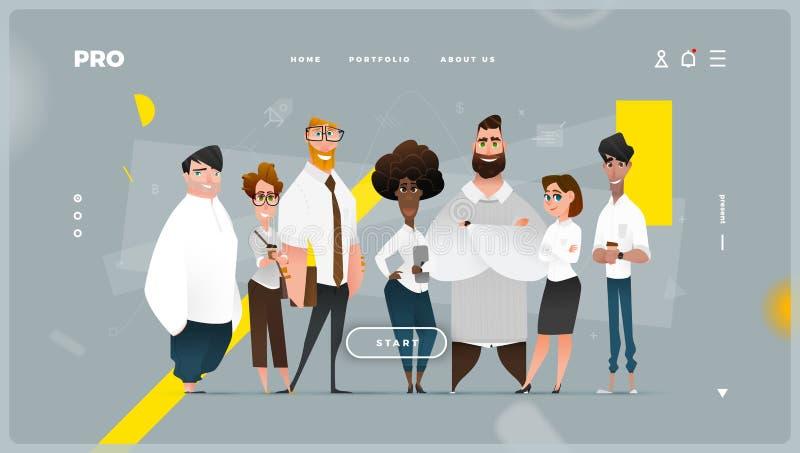 与动画片企业字符的主要抽象网页 向量例证