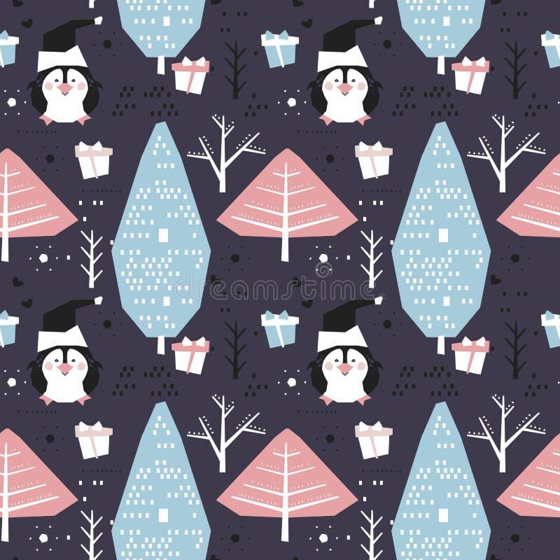 与动画片企鹅的冬天无缝的样式 向量例证