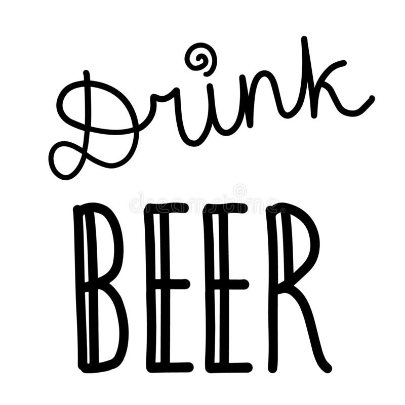 与动画片信件的饮料啤酒手拉的字法 库存例证