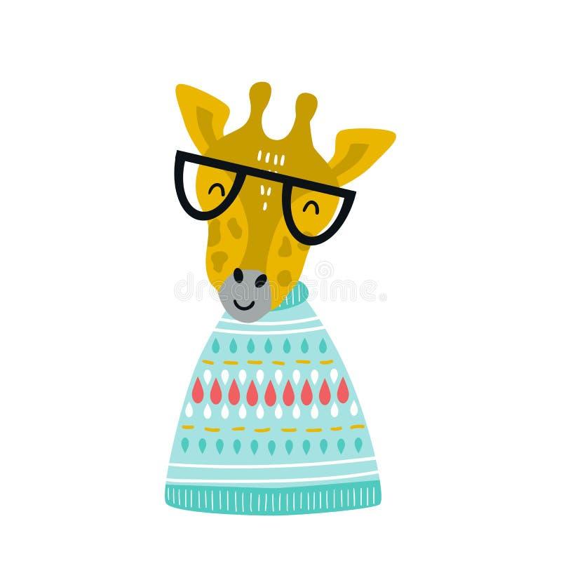 与动画片凉快的长颈鹿动物的逗人喜爱的手拉的托儿所海报与玻璃和被编织的毛线衣 库存例证