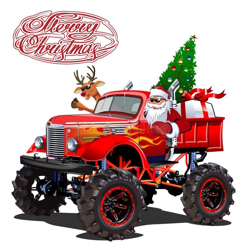 与动画片减速火箭的圣诞节monstertruck的传染媒介圣诞卡片 皇族释放例证