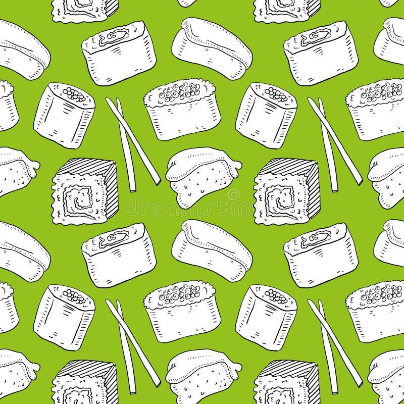 与动画片卷和寿司的逗人喜爱的无缝的样式在kawaii样式 向量例证