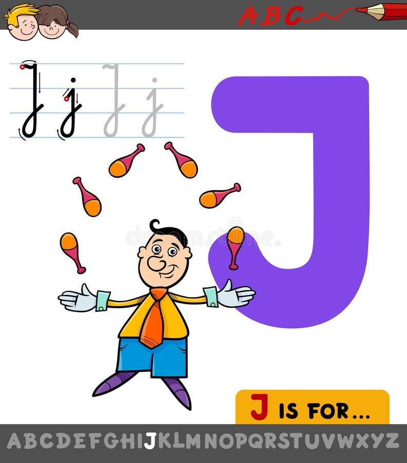 与动画片变戏法者的信件J活页练习题 库存例证