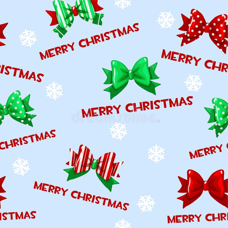 与动画片圣诞节绿色红色弓的无缝的传染媒介样式在蓝色瓦片背景 库存例证