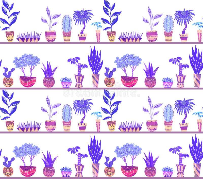 与动画片家花的无缝的霓虹纹理在有装饰的罐在架子 向量例证