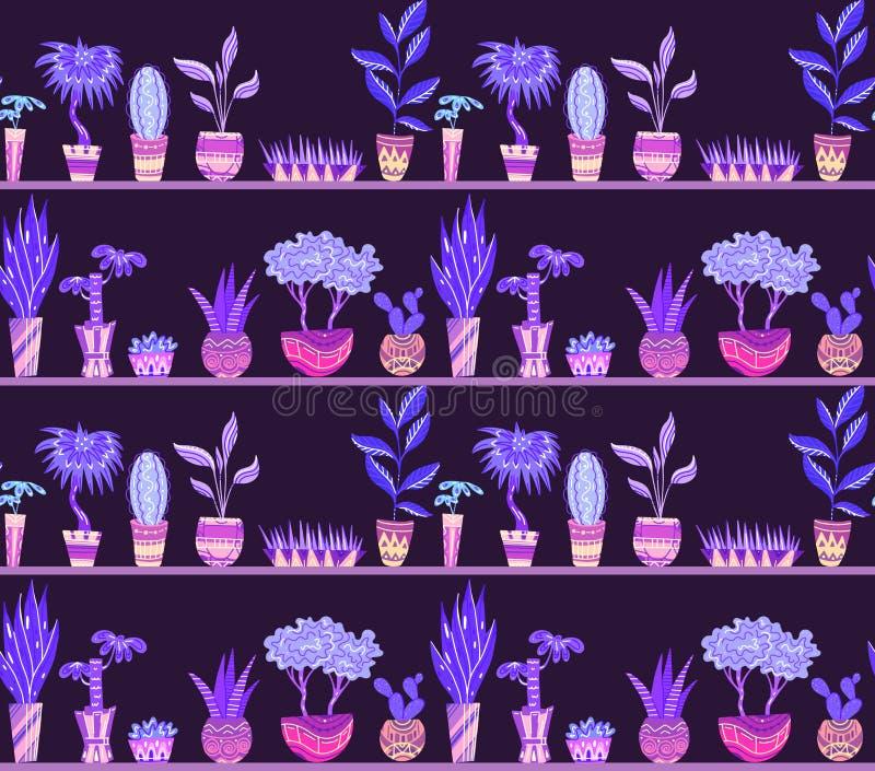 与动画片家花的无缝的霓虹纹理在有装饰的罐在架子 皇族释放例证