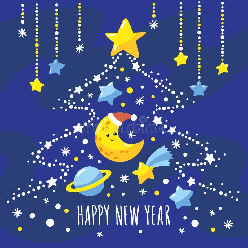 与动画片月牙、彗星,星土星和圣诞树的假日背景在夜空的 向量例证