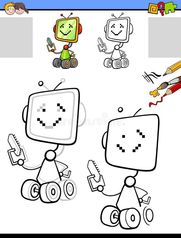 与动画片机器人的画的和上色活页练习题 皇族释放例证