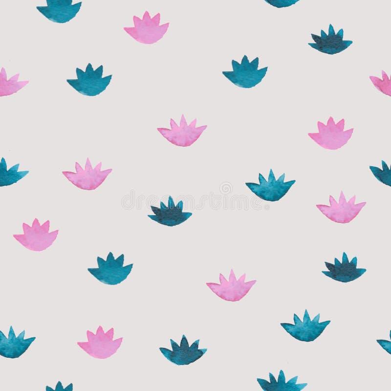 与动画片样式水lillies的逗人喜爱的桃红色和蓝色水彩无缝的样式开花 皇族释放例证