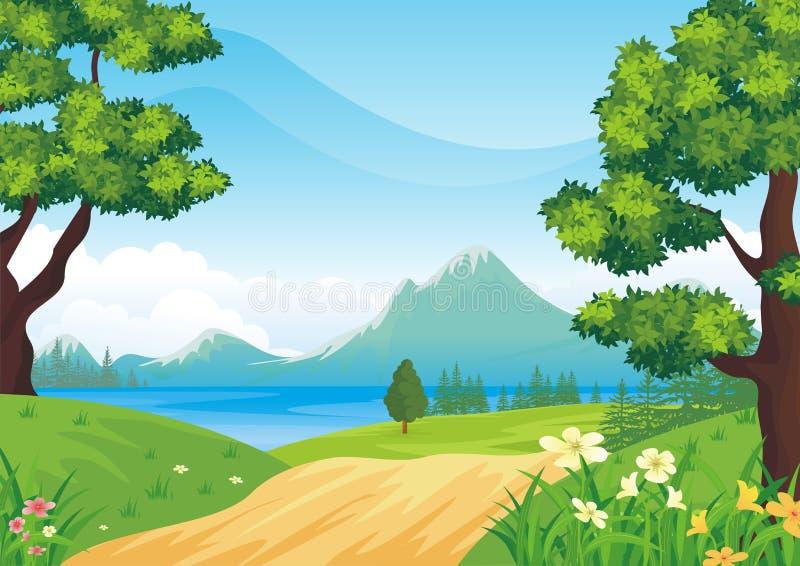 与动画片样式的可爱的春天风景背景 向量例证