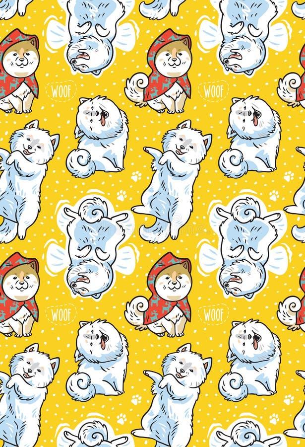与动画片滑稽的萨莫耶特人狗的无缝的样式在黄色背景 逗人喜爱的动画片小狗传染媒介背景 向量例证