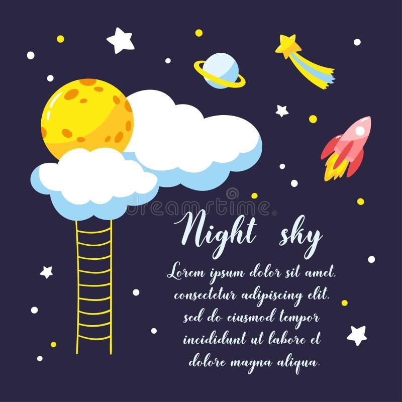 与动画片满月、云彩和其他宇宙对象的背景在夜空 皇族释放例证