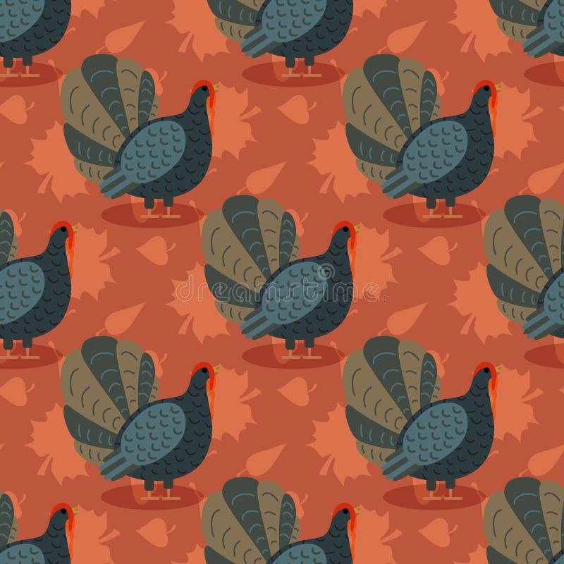 与动画片火鸡鸟和叶子的五颜六色的样式 愉快的感恩庆祝的无缝的背景 向量 库存例证