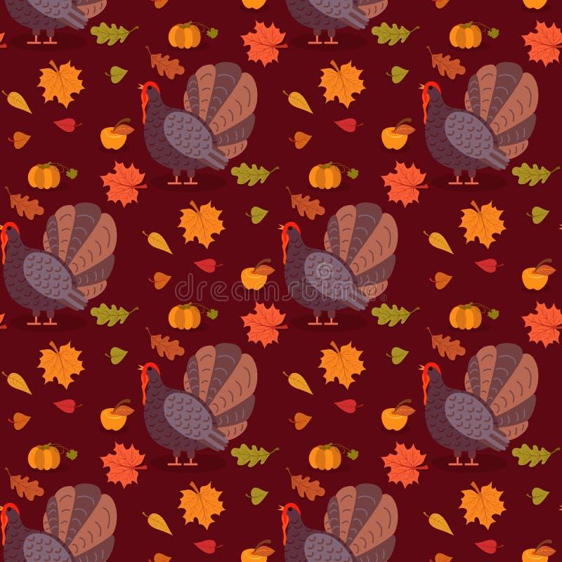 与动画片火鸡鸟和叶子的五颜六色的样式 愉快的感恩庆祝的无缝的背景 向量 皇族释放例证