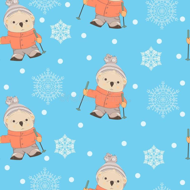 与动画片熊滑雪的冬天无缝的样式 库存例证