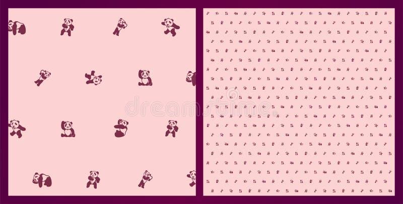 与动画片熊猫的美好的滑稽的桃红色样式 皇族释放例证