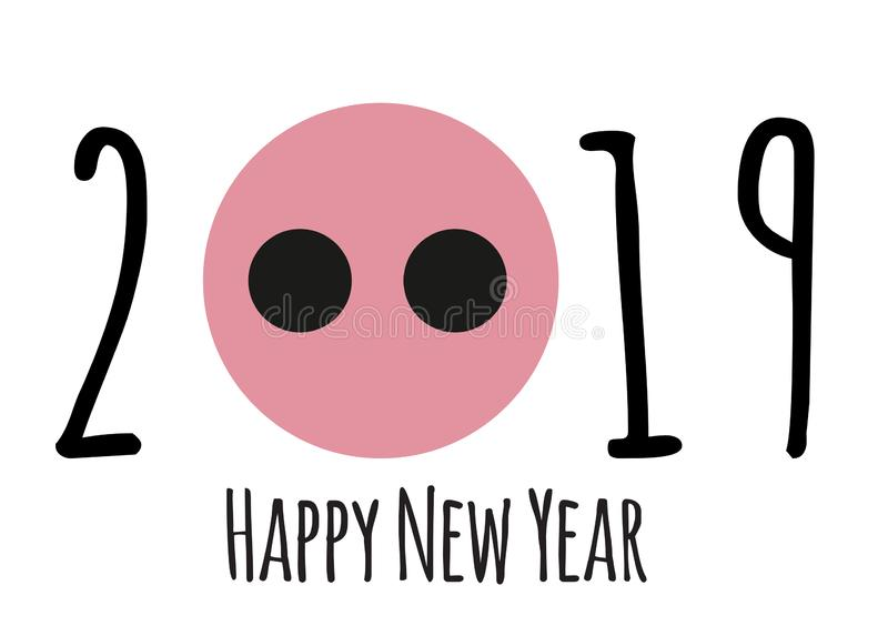 与动画片猪的新年快乐2019逗人喜爱的卡片设计 也corel凹道例证向量.图片