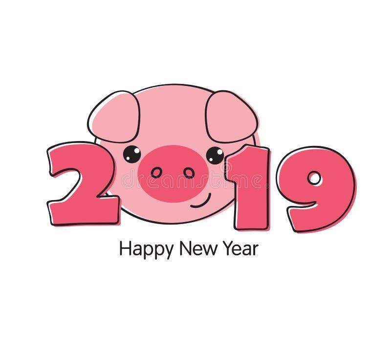 与动画片猪面孔的新年快乐2019滑稽的卡片设计. 大象, 设计.图片
