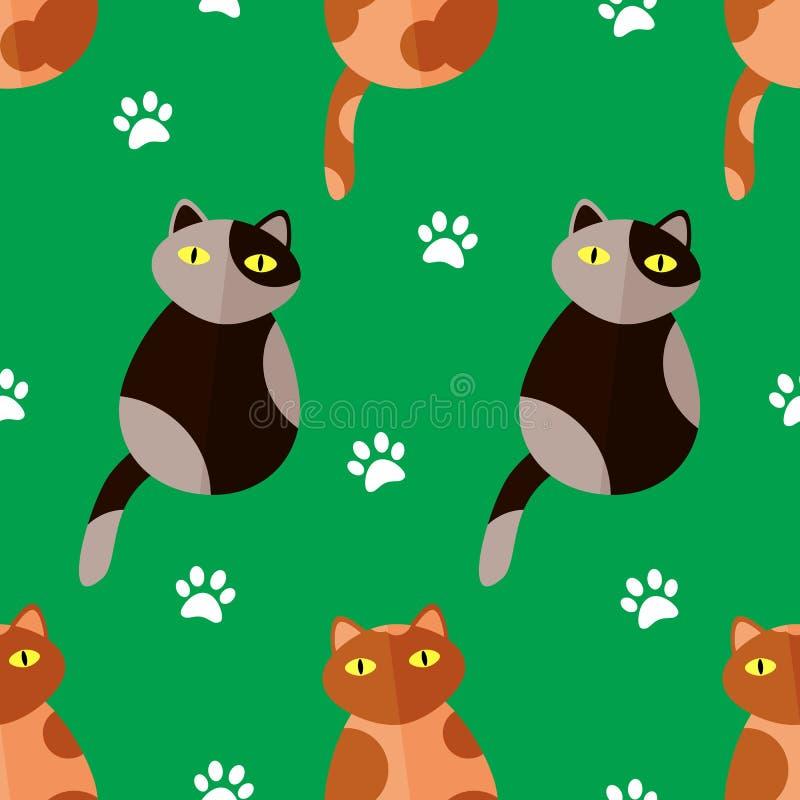 与动画片猫和爪子的无缝的样式在绿色背景打印 向量 皇族释放例证