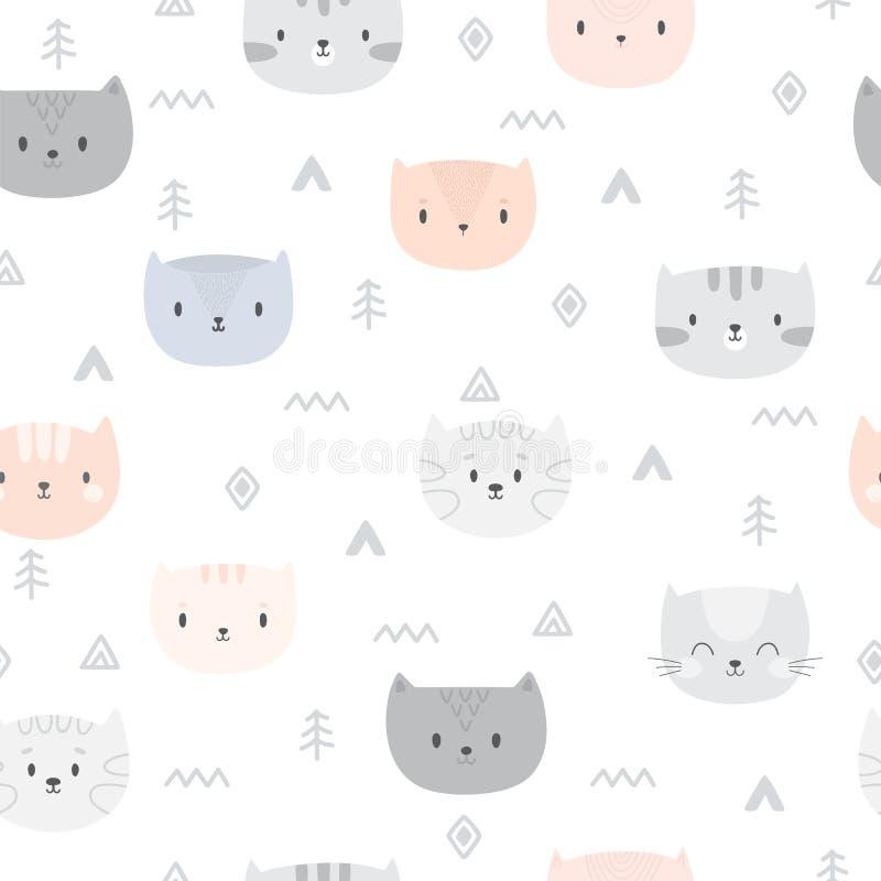 与动画片猫的部族无缝的样式 抽象几何艺术印刷品 与逗人喜爱的动物的手拉的种族背景 向量例证