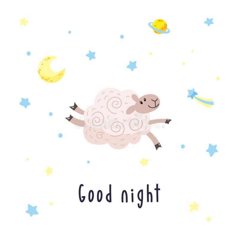 与动画片绵羊、月亮、星和彗星的天空背景 与逗人喜爱的羊羔和题字晚安的传染媒介例证 向量例证