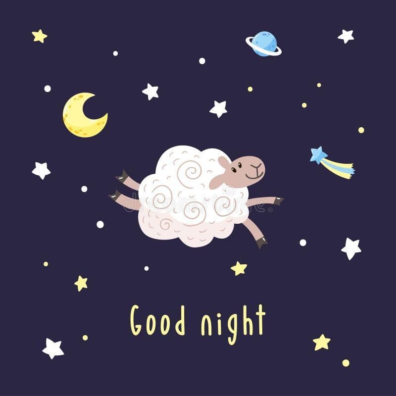 与动画片绵羊、月亮、星和彗星的黑暗的夜背景 与逗人喜爱的羊羔和文本晚安的传染媒介例证 皇族释放例证
