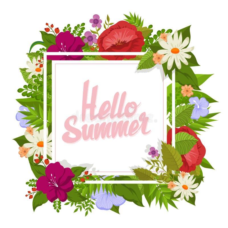 与动画片花的传染媒介背景 你好卡片的夏天花卉设计 向量例证