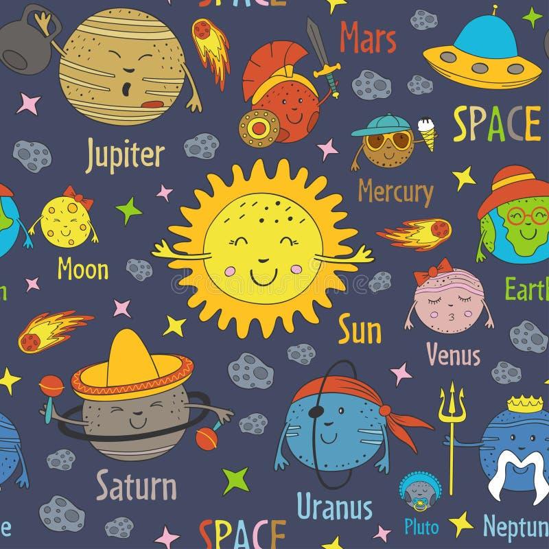 与动画片行星的滑稽的太阳系和名字的无缝的样式 向量例证