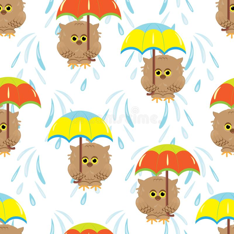 与动画片褐色猫头鹰和五颜六色的伞的无缝的样式 皇族释放例证