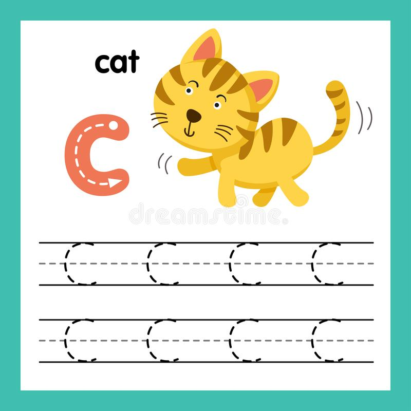与动画片词汇量的字母表C锻炼 向量例证
