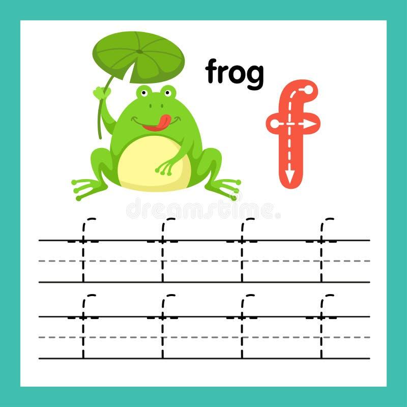 与动画片词汇量的字母表F锻炼 向量例证