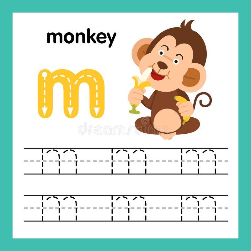 与动画片词汇量的字母表M锻炼 向量例证