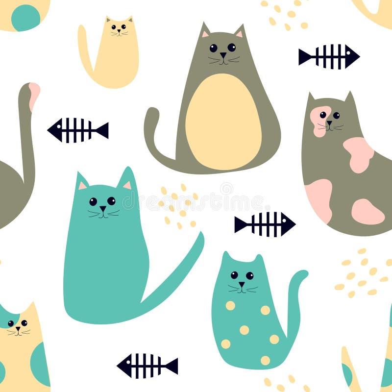 与动画片逗人喜爱的猫和鱼骨的无缝的样式 皇族释放例证