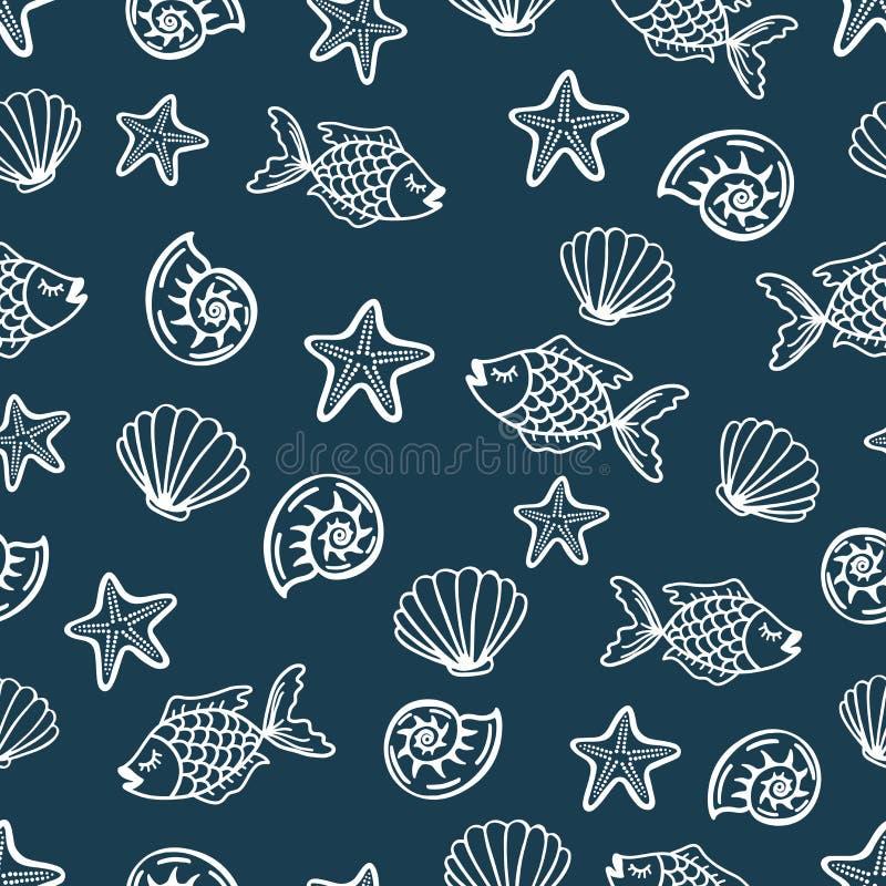 与动画片鱼,贝壳,海星的无缝的样式 向量例证