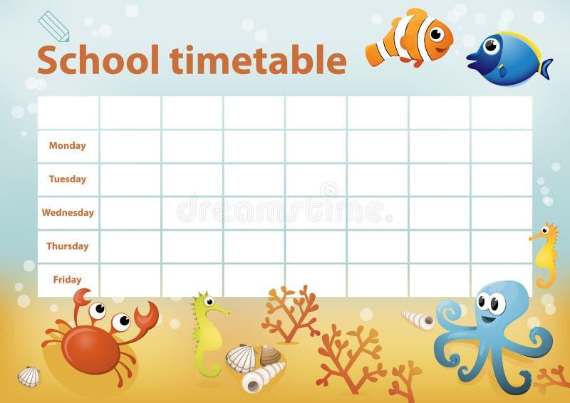 与动画片海洋动物的学校时间表在背景中 免版税图库摄影