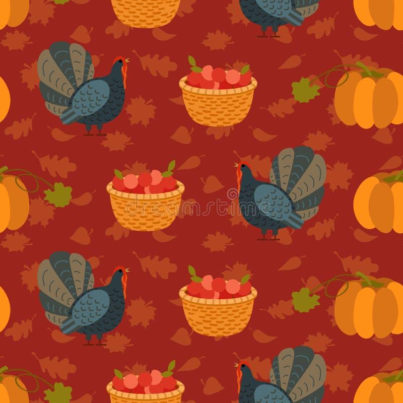 与动画片火鸡鸟和叶子的五颜六色的样式 愉快的感恩庆祝的无缝的背景 库存例证