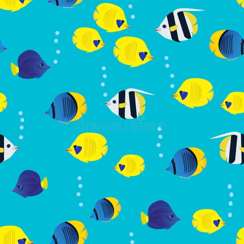 与动画片珊瑚礁生动的鱼的五颜六色的无缝的样式在蓝色背景 水下的生活墙纸 库存例证