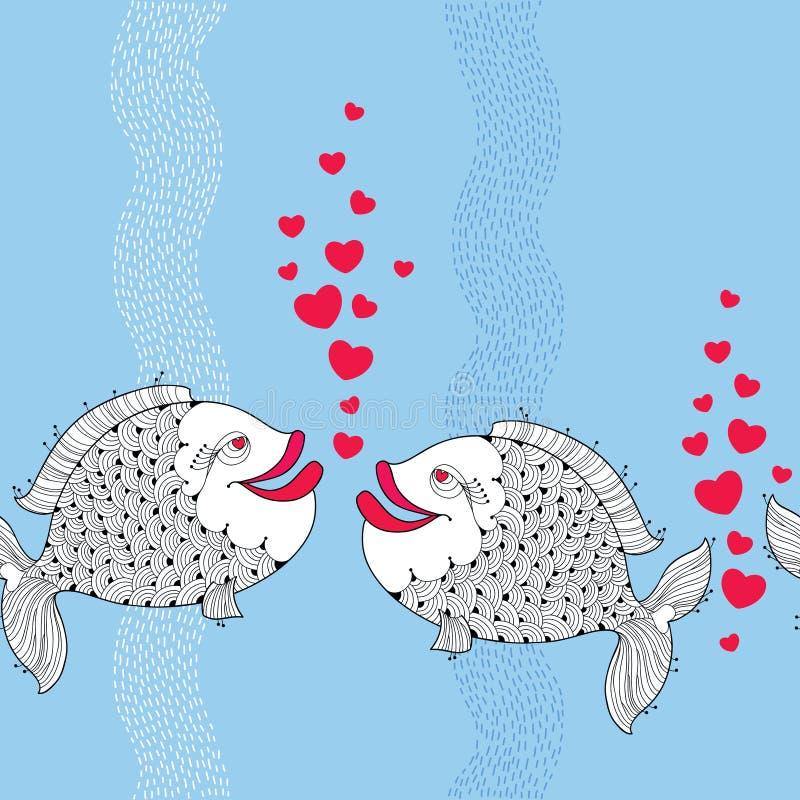与动画片的无缝的样式钓鱼在爱的夫妇和象心脏的红色泡影在与条纹的蓝色背景 皇族释放例证